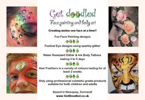 Get Doodled Newquay face painter, face painting services in cornwall